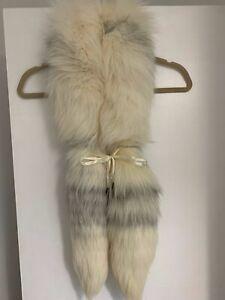 Real Fox Fur Boa Silver Fox Fur Scarf Collar Shawl