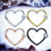 BINKY Crystal CBR Heart Daith Piercing Cartilage Hoop Helix Earring Tragus Ring