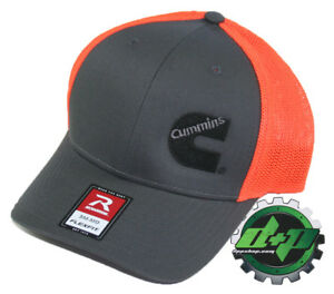 Dodge Cummins trucker hat richardson Charcoal Gray Orange mesh flex fit sm/md