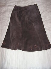 Jupe Femme Cuir Porc Velours T. 36 Un Deux Trois 123 1.2.3 Leather Skirt