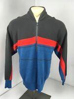 VTG 80s Tyrolia By Head Ski Snow Sweater 1/2 Zip Striped Wool Blend Colorblock L