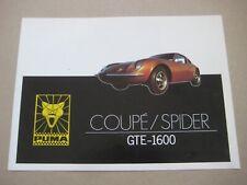 PUMA GTE 1600 COUPE SPIDER Catalogue Brochure Prospekt Dépliant Deutsch