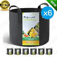6-Pack 5 Gallon Grow Bags /Aeration Fabric Pots Soil w/ Handles Smart Plant