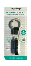 Micro USB Charging Cable Keychain MyCharge PowerCord Go  Black
