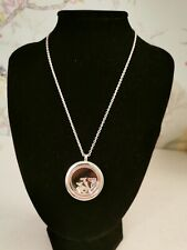 AVON Silver Tone Chunky Statement Large Interchangeable Locket Necklace ~DB
