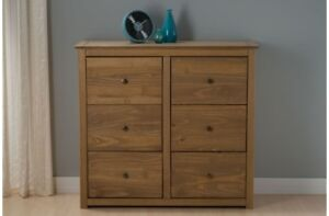 Rustic 6 Drawer Chest With a Distressed Waxed Finish And Hand Made Look