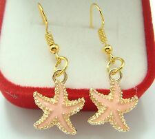 Oil Painted Cocktail Lady Earring fy72 18K gilded Hook -1.5'' Starfish pink