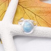 Larimar oval blau hellblau Design Ring Ø 17,75 18,75 mm 925 Sterling Silber neu