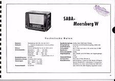 Servizio Manuale di Istruzioni per Saba Meersburg W anno costr. 1950/51