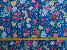 Vintage Bright Blue Floral Fabric 45 in. Wide 50/50 BTY Red Yellow White Green