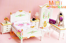 1:12 Dollhouse Miniature Furniture Toy Bedroom Rose Bed Wardrobe Dresser 6pcs