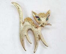 Vintage Mamselle Siamese Cat Goldtone Pin Brooch Jewelry Rhinestone Kitty Kitten