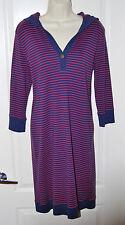 LRL Ralph LAUREN Red NAVY blue striped hooded tee knee COTTON dress M 8 10 NEW