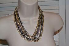 "Lia Sophia Hypnotic Necklace 17-20"" long Silver, Matte Gold and Hematite RV $158"