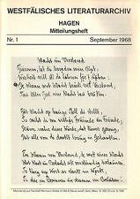 Westfälisches Literaturarchiv Hagen Mitteilungsheft 1 / 1968 Westfalen Literatur