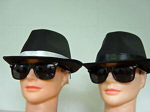 Blues Brothers Gangster Fedora 70s 80s Hat Glasses - Bulk Sale 12- 20-pack