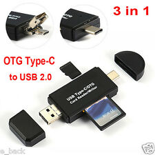 3in1 Micro Type-C USB OTG to USB 2.0 Adapter SD/Micro SD Card Reader Adapter Hot