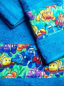 NEW CUSTOM Hand Border CLOWN FISH 3 PC TOWEL SET TURQUOISE Nemo type