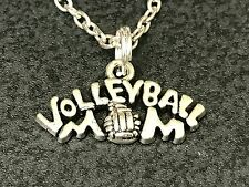 """Volleyball Mom Charm Tibetan Silver with 18"""" Necklace"""