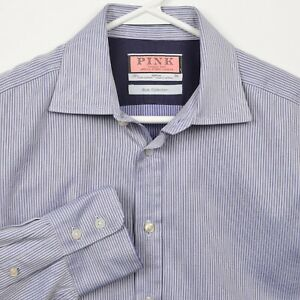 Thomas Pink Men's 15.5-36 Blue Collection Blue Striped Button-Front Dress Shirt