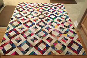 """Handmade Quilt """"I SPY"""" or """"Ring around the Rosie"""" REVERSIBLE 58.5 x 71"""" LAP/TWIN"""