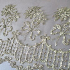 """Antique 19thC LACE Flounce SILVER Metallic Tambour Embroidered FLOWERS 17""""WX50"""""""