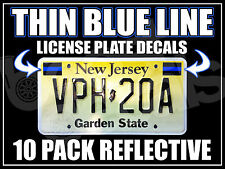 10 PACK THIN BLUE LINE License Plate Decals Stickers FOP Police PBA Trooper