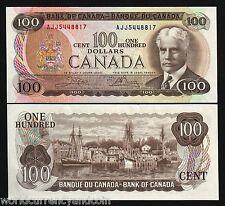 CANADA $100 P91B 1975 ROBERT BORDEN SHIP HARBOR UNC CROW BOUEY NOTE