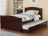 NEW BALLWIN CHERRY FINISH WOOD TWIN BED w/ TWIN UNDER BED TRUNDLE