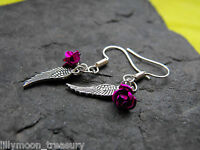 Guardian ANGEL WING earrings METAL ROSE necklace black pink red goth wicca EMO