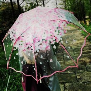Japanese Umbrella For Rain Transparent Clear Women Girls Chinese Blossom