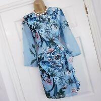 LITTLE MISTRESS Dress Size 12 New Blue Floral Print Party Evening Wedding Races