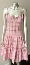 Vintage Cotton Plaid Button Spaghetti Strap Pink Sundress Day Tea Dress Size XS