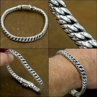 "8.5"" 21.5cm 59g HEAVY DOUBLE CURB LINK CHAIN 925 STERLING SILVER MENS BRACELET"