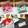 100Pcs Self-adhesive Candy Bags Christmas Cookie Packaging Case Xmas Decor Sight