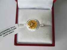GENUINE CITRINE 1.75ct STERLING SILVER SOLITAIRE RING SIZE N