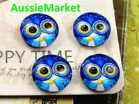 20 x cabochons glass dome owl bird pattern round 12mm x 4mm ladies jewellery new