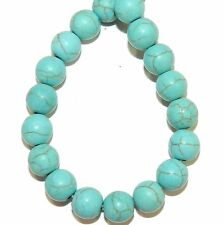 NG2970f Matte Blue Turquoise 7mm Round Magnesite Gemstone Beads 15""