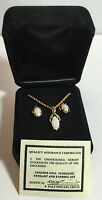 NEW QVC Necklace and earring set in a Velvet Box genuine Opal Marquise stone