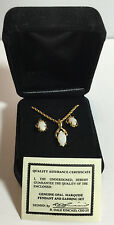 QVC Necklace and earring set in a Velvet Box genuine Opal Marquise stone