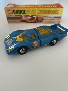 Vintage Corgi Toys #385 Porsche 917 Whizzwheels Blue Race Car 1:43 Scale Diecast