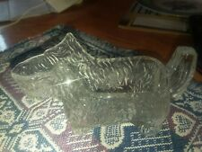 Vintage Scottie Dog Clear Ribbed Glass Creamer or Pipe Holder candy dish planter