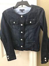 Tommy Hilfiger Girls EUC Buttoned Denim Jacket Size L 12/14 Dark Wash