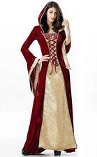 Nuevo Rojo/Oro Medieval Boda Vestido Vestido De Corsé De Disfraces De Terciopelo Talla 10 12 14