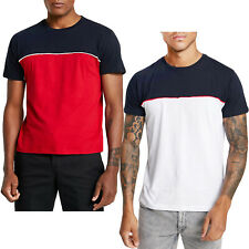 Brave Soul Mens Stanley Short Sleeve Casual Crew Neck T-Shirt - Navy/Red - M