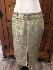 Valentino Vintage 90s Gold Geometric Brocade Double Belted Split Skirt Size 10