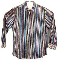 Bugatchi Uomo Shaped Fit Flip Cuff Shirt Mens Sz Medium M Rainbow Striped Rare