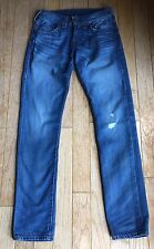 True Religion Men's Geno Moto Slim Denim Blue Jeans MJ19NTS4 28 Slow Crusin Wash