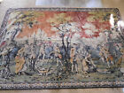 """LG Hunting Horse Dogs SCENE Tapestry Victorian unmarked vintage 74"""" x 50""""~FREESh"""