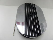 """12"""" Oval Half Finned Black Polished Aluminum Air Cleaner Classic"""